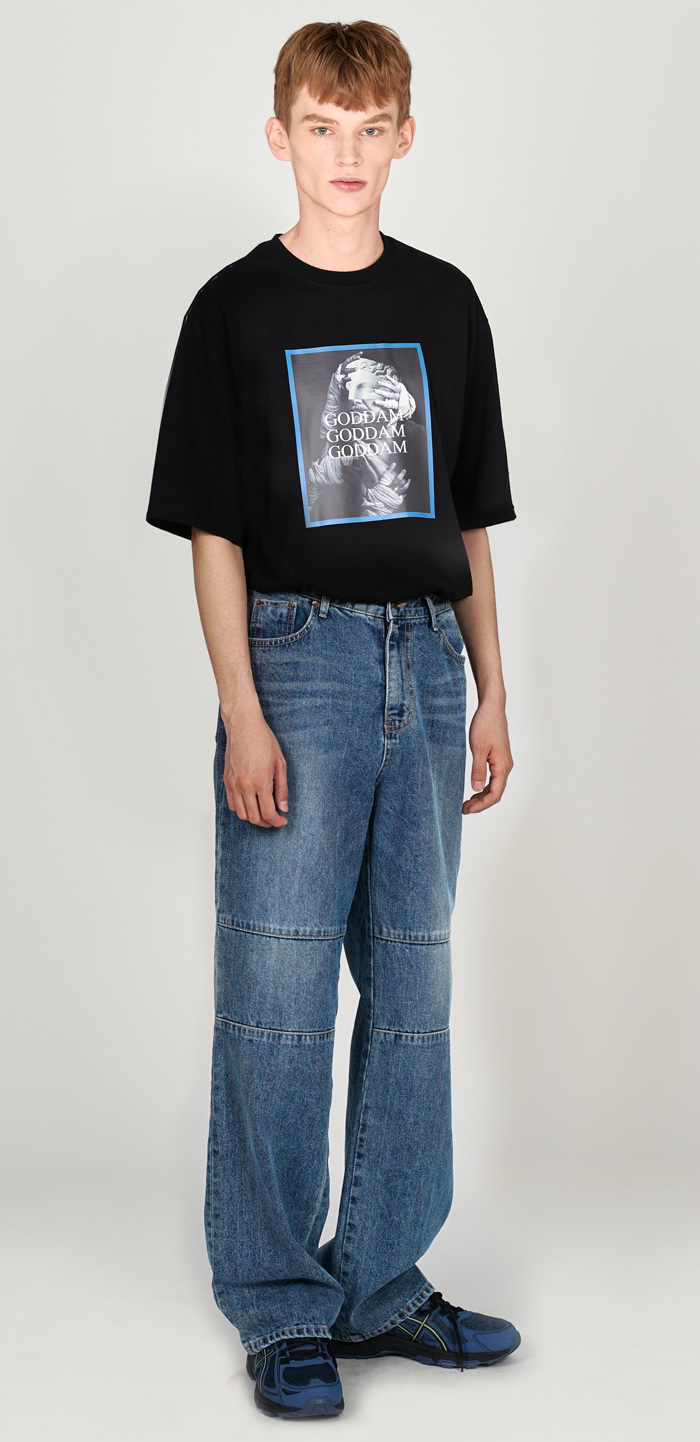 KNEES SEMI WIDE PANTS(BL)